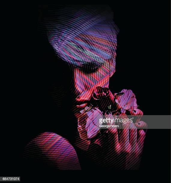 digital face of a young hipster woman holding flowers - multiple exposure stock illustrations, clip art, cartoons, & icons
