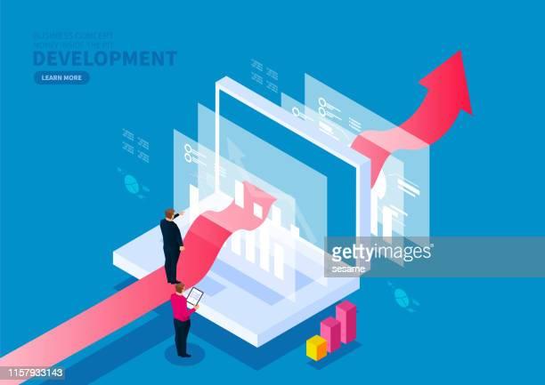 digital finance business development and service concept - digital display stock illustrations