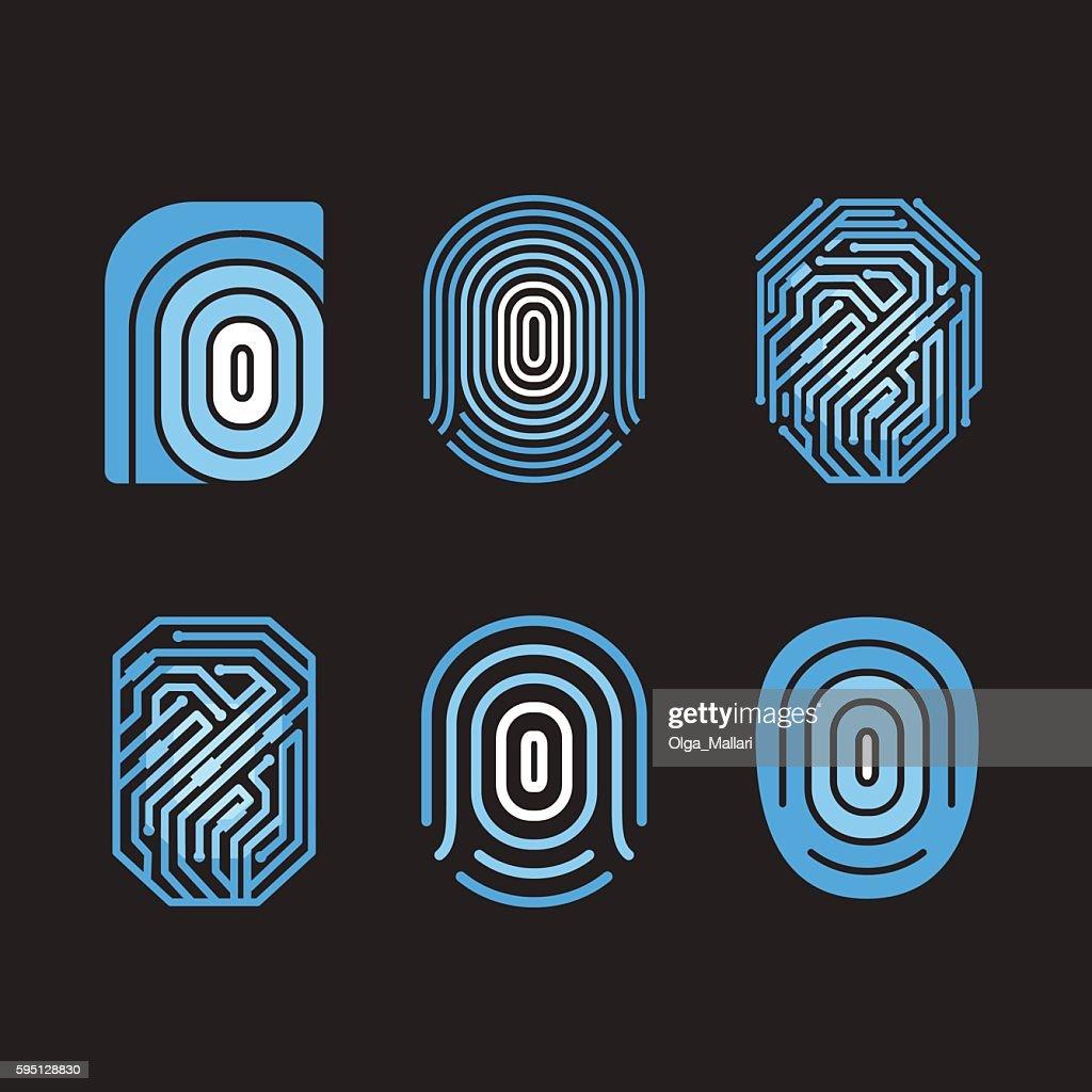 Digital fingerprint vector set. Element on black background.