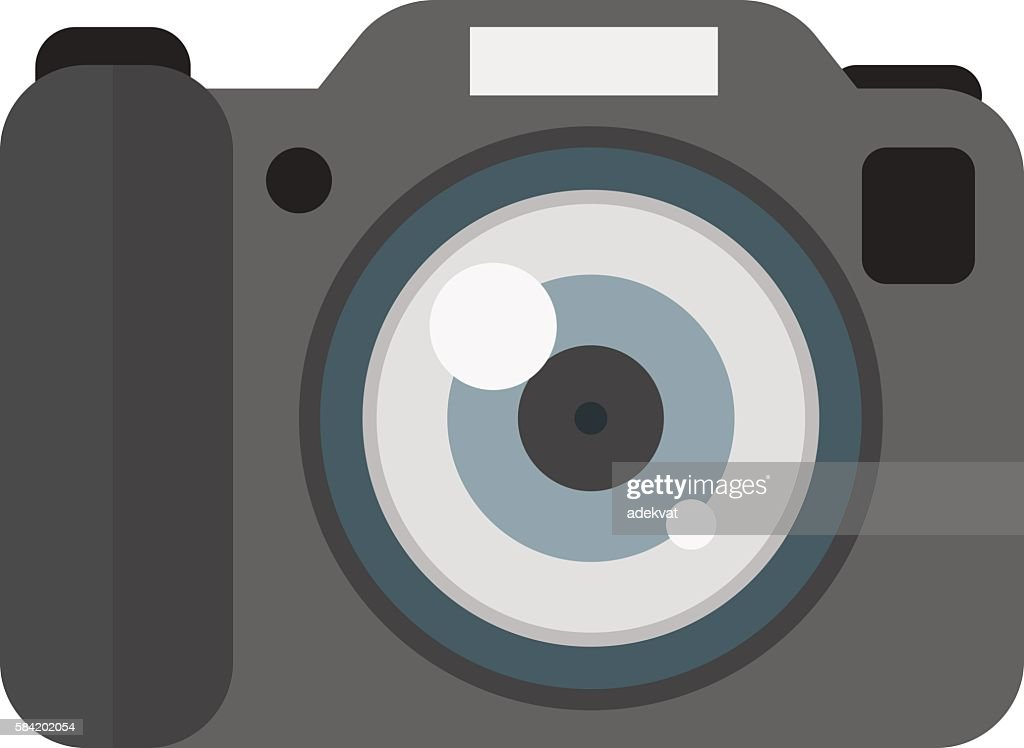 Digital flat photo camera isolated