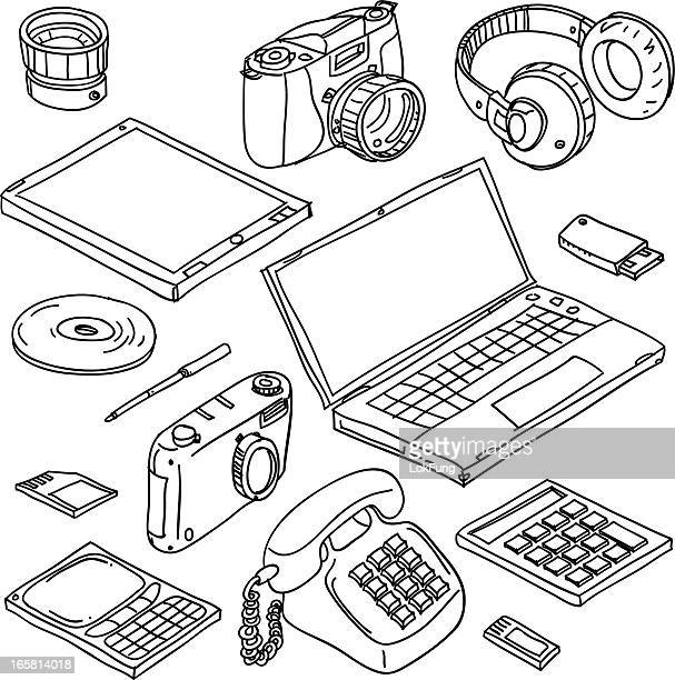 Digital gadget collection in black and white