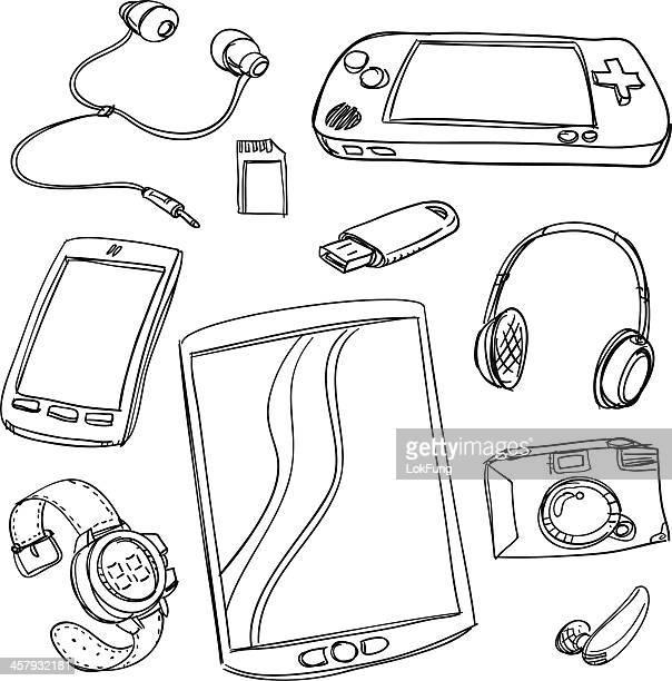 digital gadget collection - headphones stock illustrations