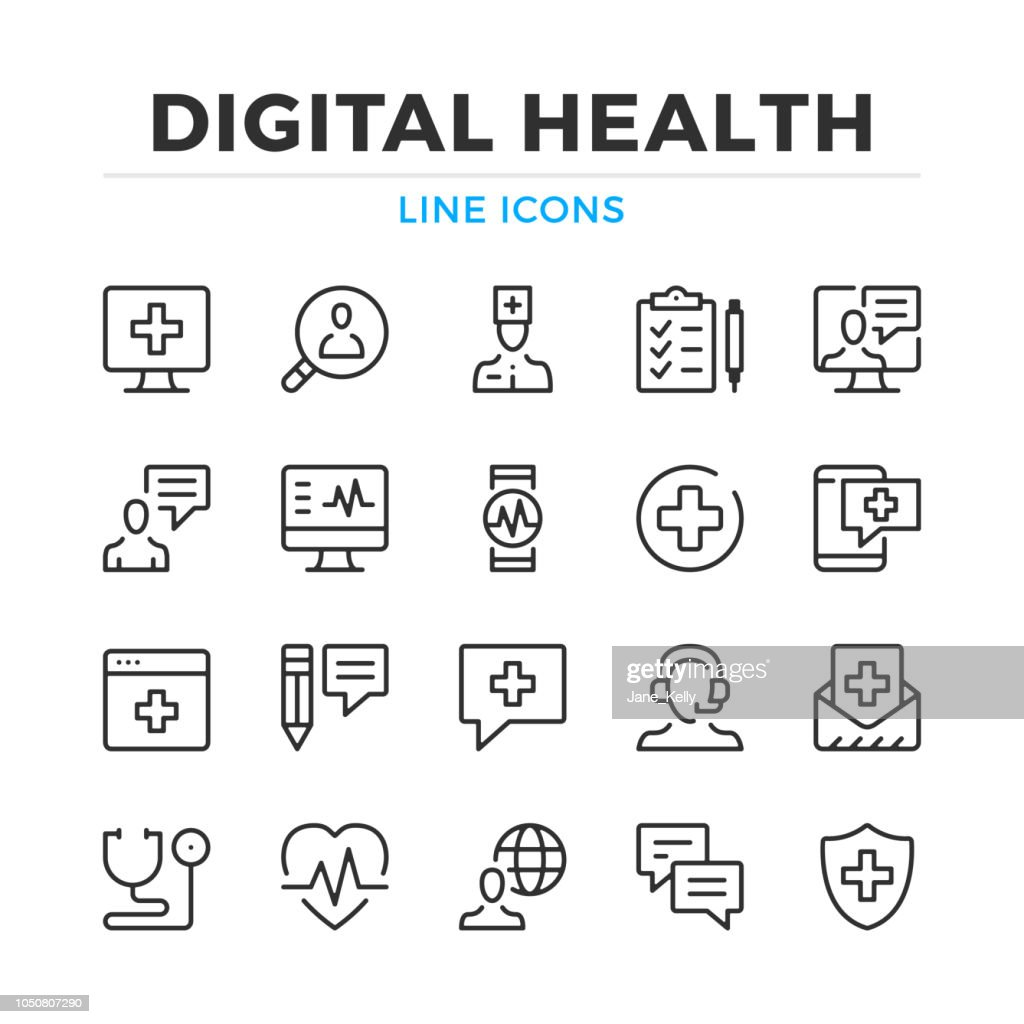 Digital health line icons set. Modern outline elements, graphic design concepts. Stroke, linear style. Simple symbols collection. Vector line icons