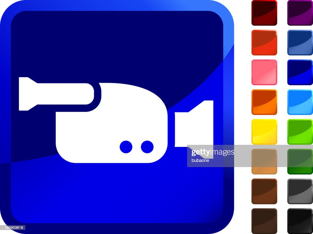 Digital Home Video Camera royalty free vector icon set stickers : stock illustration