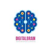 Digital human brain - vector sign concept illustration