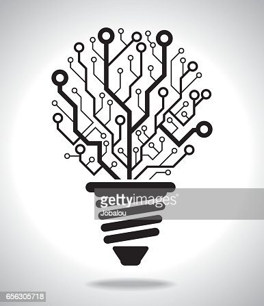 Digital Idea Lamp Vector Art