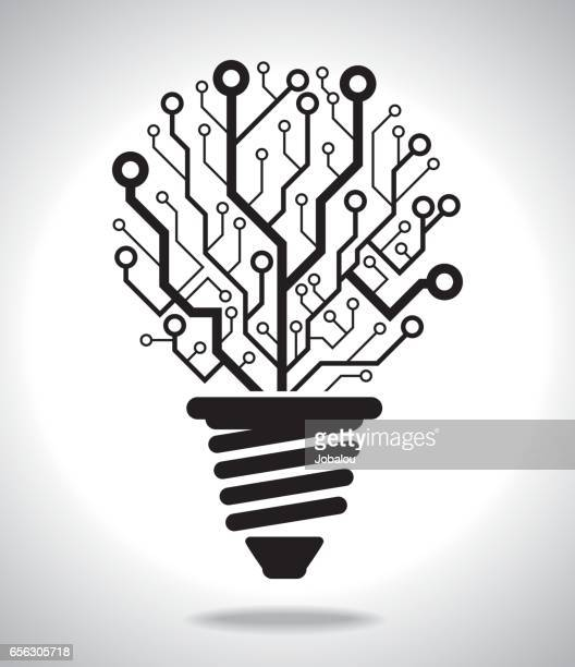 digital idea lamp - cable stock illustrations, clip art, cartoons, & icons