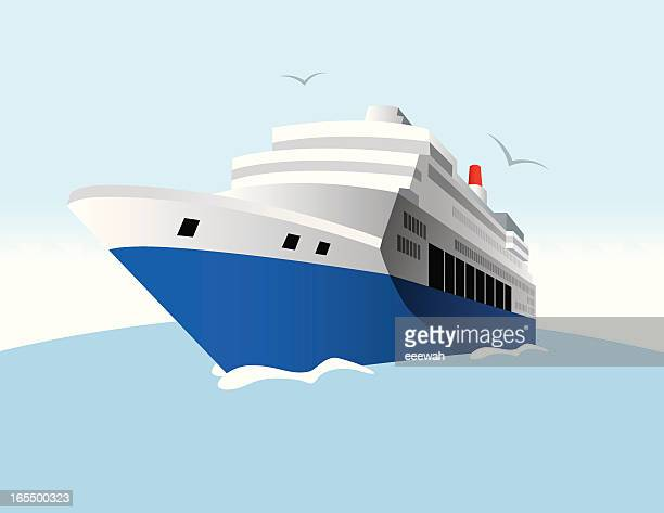 Digital illustration of a cruise ship on water