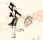 Digital illustration of a happy woman shopping