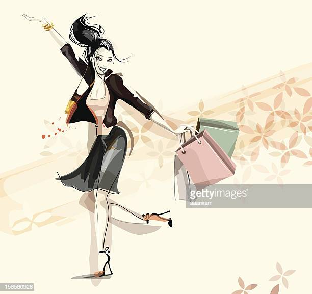 digital illustration of a happy woman shopping - only women stock illustrations, clip art, cartoons, & icons