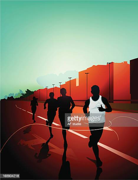 digital illustration of people's silhouettes running in city - track event stock illustrations
