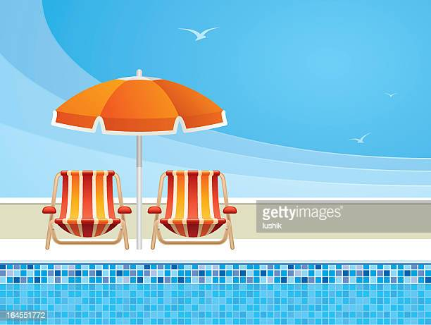 Digital Illustration of pool chairs and an umbrella by pool