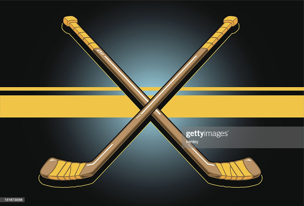 Digital image of two crossed hockey sticks on a yellow line