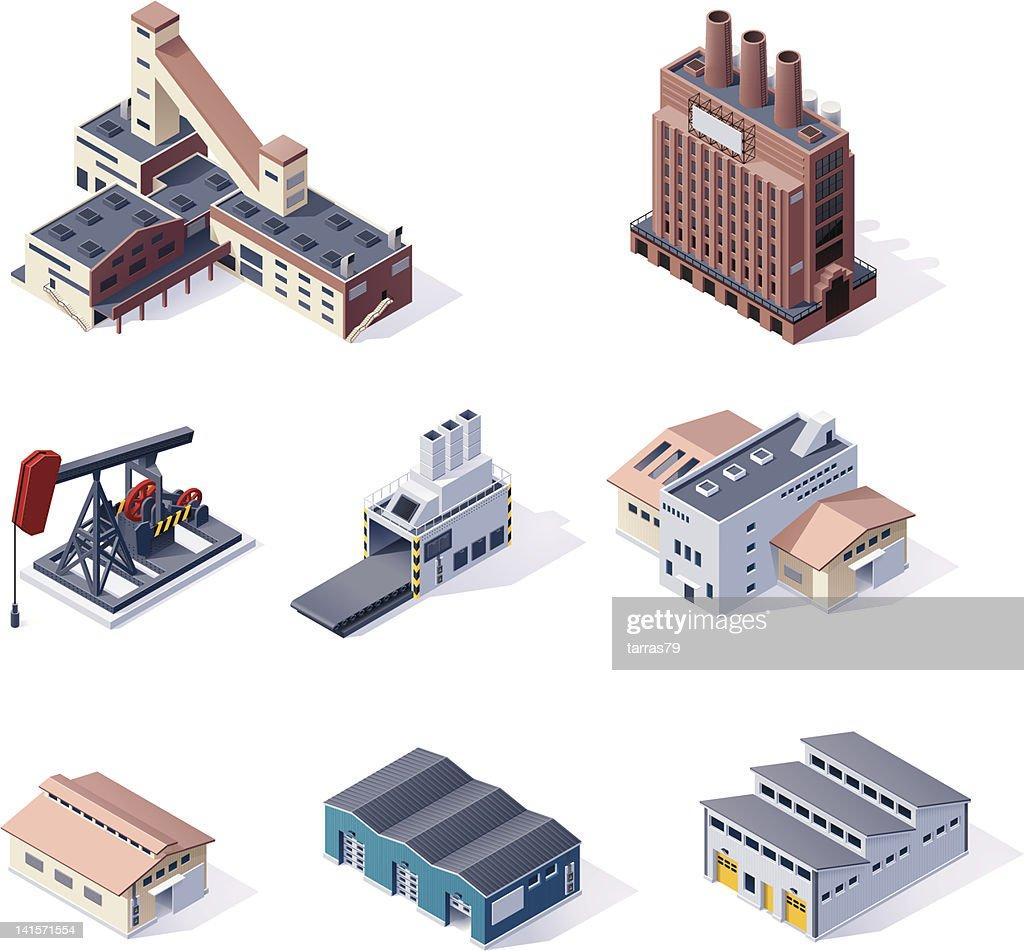 Digital isometric illustrations of factories