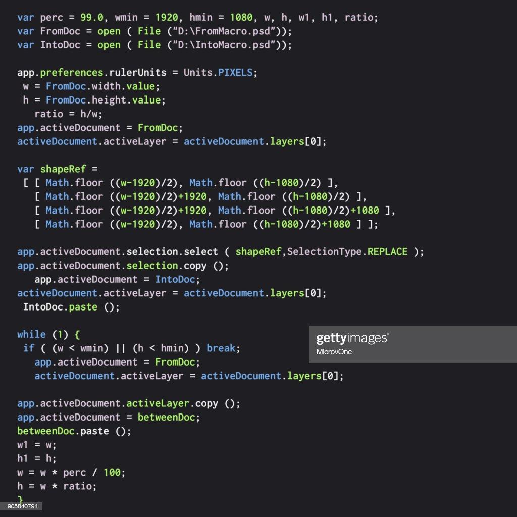 Digital java code text. Computer software coding vector concept