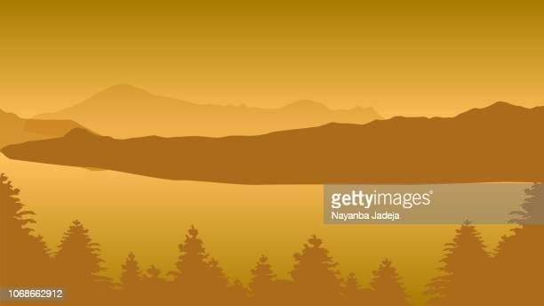 Digital Landscape vector illustration mountains, rivers, sky