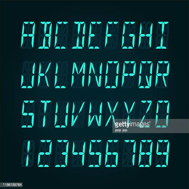 digital lcd display font - vector illudtration - number stock illustrations