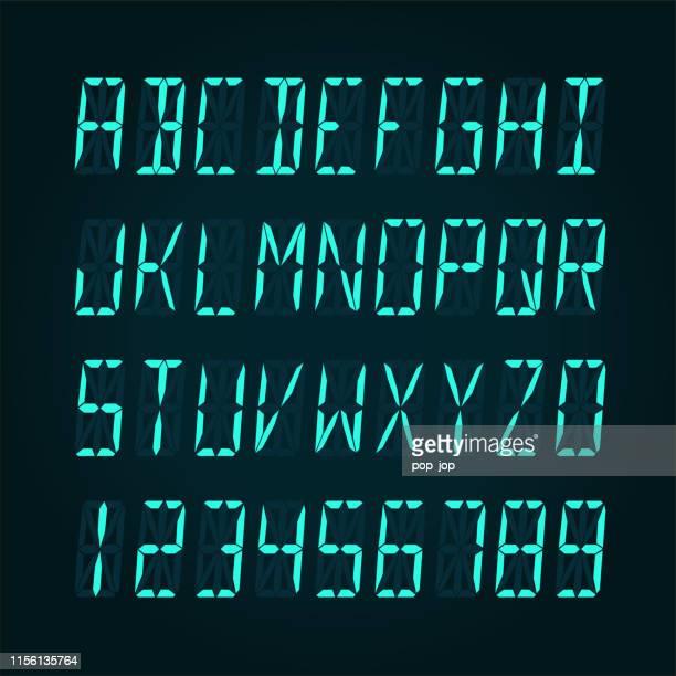 digitale lcd-anzeigeschrift - vektor-illudration - zahl stock-grafiken, -clipart, -cartoons und -symbole
