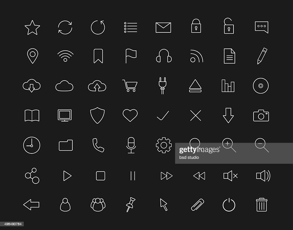 Digital linear icons set. Black