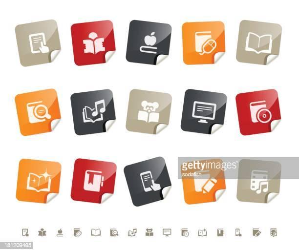 ilustrações, clipart, desenhos animados e ícones de digital literatura icons/sticky series - enciclopédia