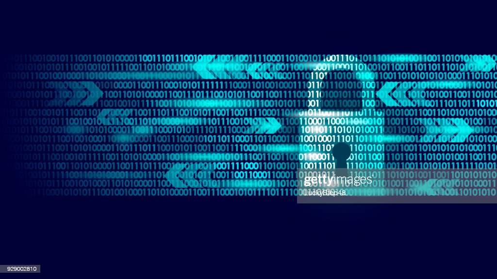 Digital lock guard sign binary code number. Big data personal information safety technology closed padlock. Blue glowing abstract web internet electronic payment vector illustration