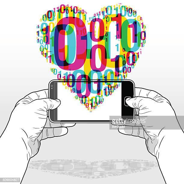 ilustraciones, imágenes clip art, dibujos animados e iconos de stock de digital love proveniente de un teléfono inteligente - flirting