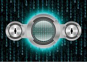 Digital Magnifying Glass scanning and identifying data and Data security; Cyber security concept