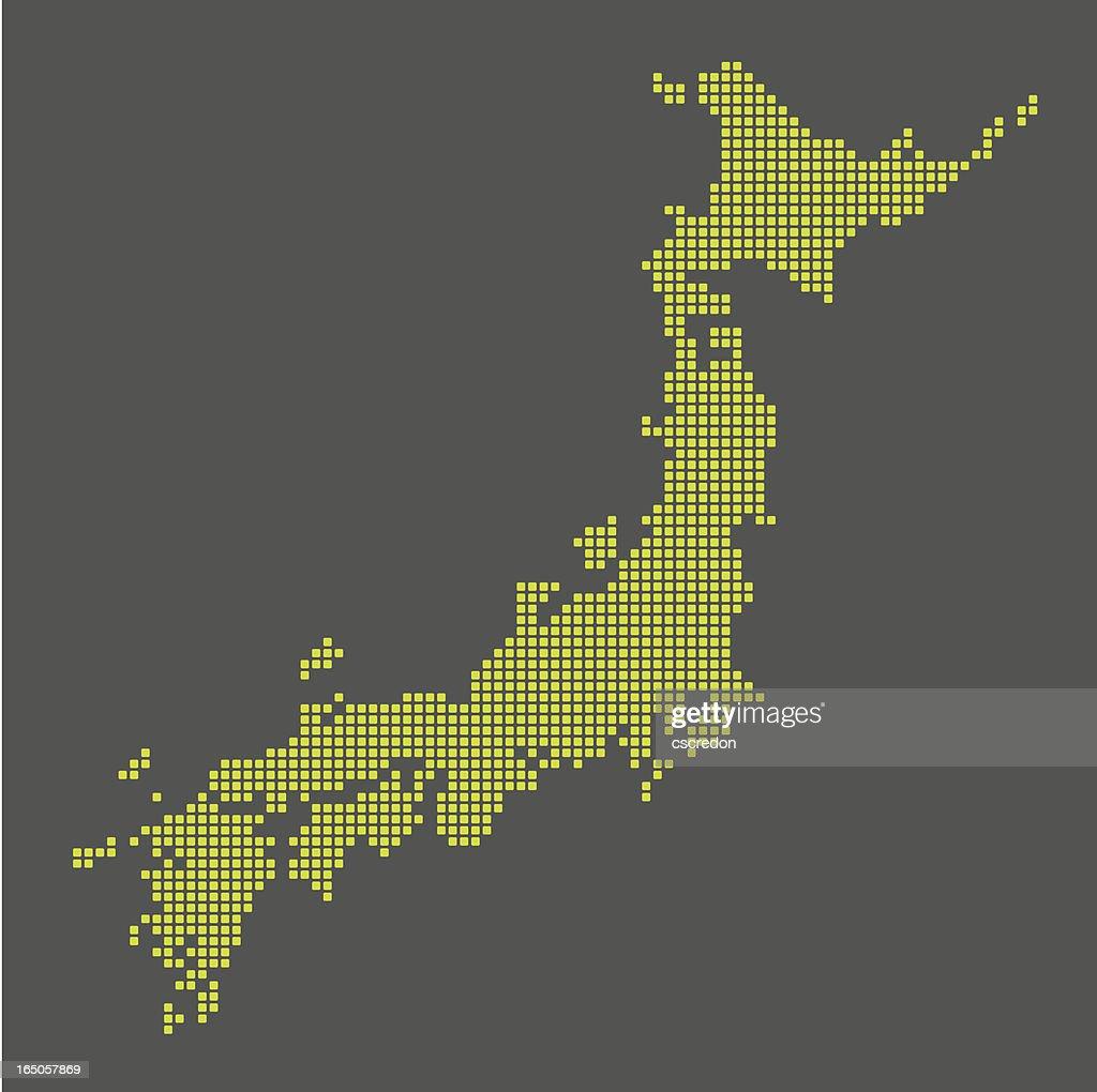 digital map of japan : stock illustration
