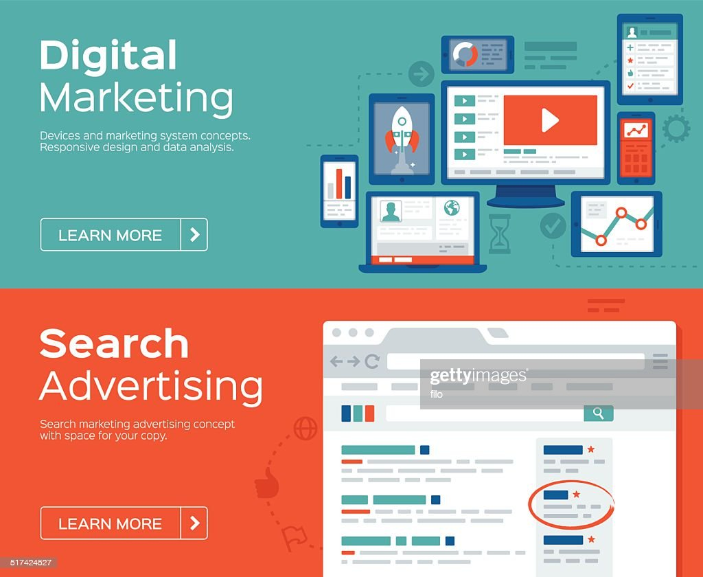 Digital Marketing and Search Advertising Banners : stock illustration