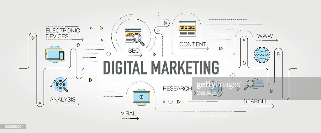 Digital Marketing banner and icons