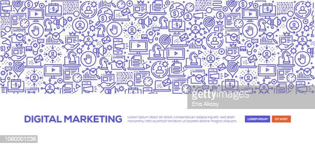 digitales marketing banner - return stock-grafiken, -clipart, -cartoons und -symbole