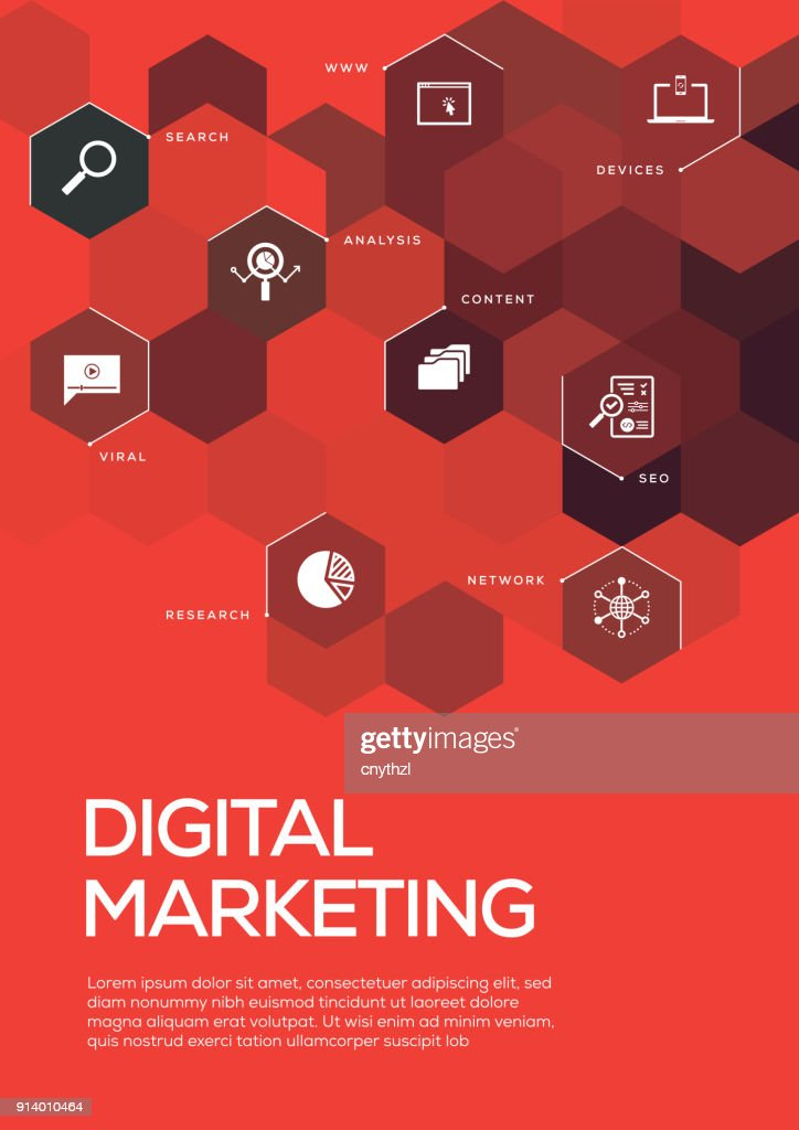 Digital Marketing Brochure Template Layout Cover Design Vector Art