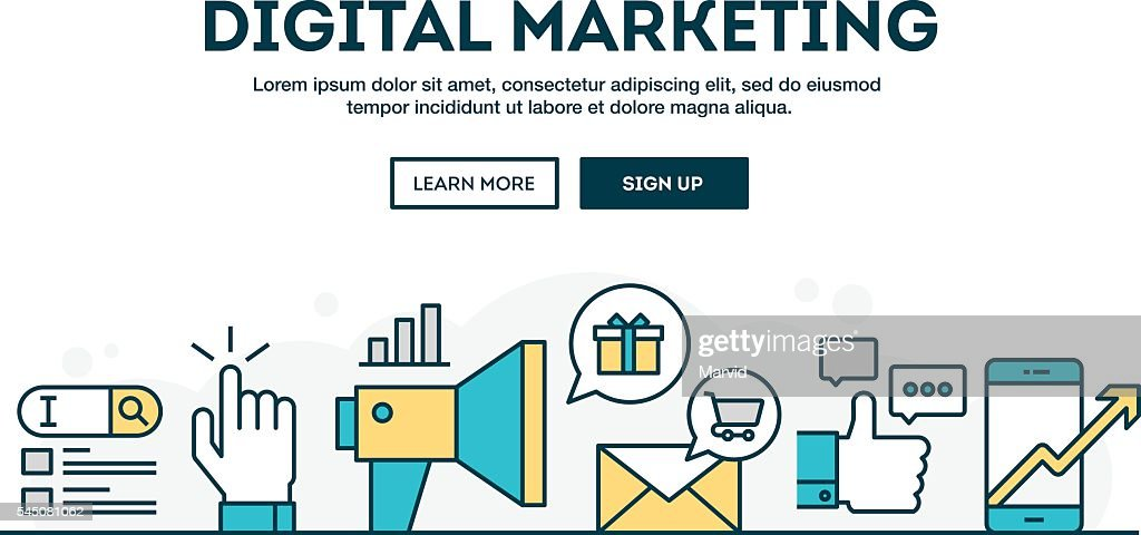 Digital marketing, colorful concept header, flat design thin line