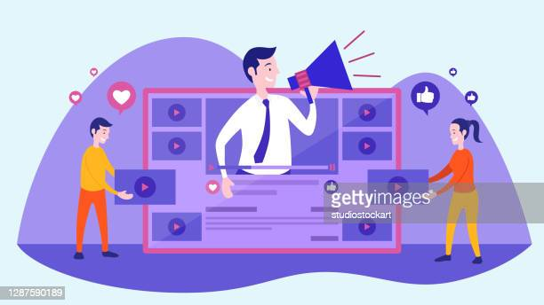 digital marketing concept - live broadcast stock illustrations