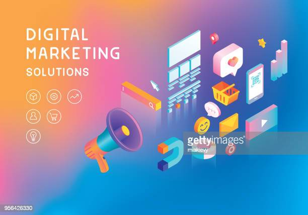 digital marketing concept - marketing stock illustrations