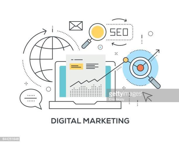 stockillustraties, clipart, cartoons en iconen met digitale marketing concept met pictogrammen - search engine