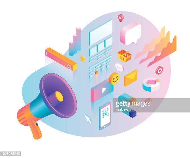 digital marketing concept with megaphone - marketing stock illustrations