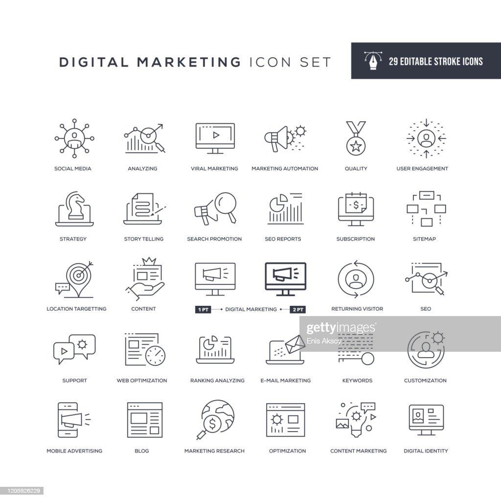 Icone della linea di tratti modificabili di Digital Marketing : Illustrazione stock