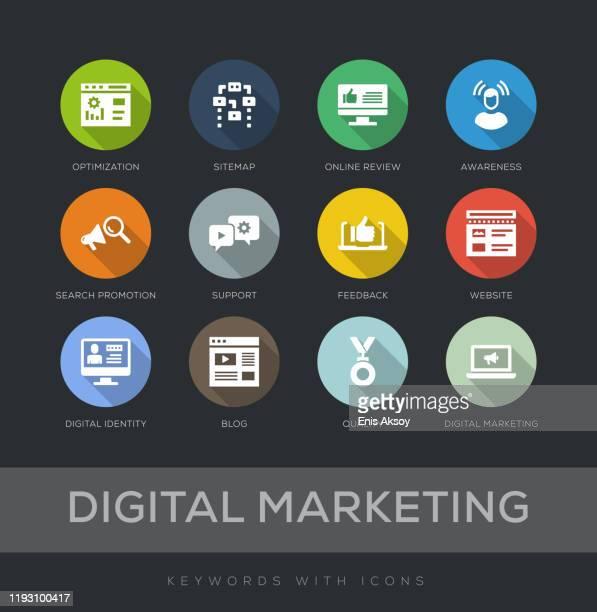 digital marketing flat design icon set - customer engagement stock illustrations