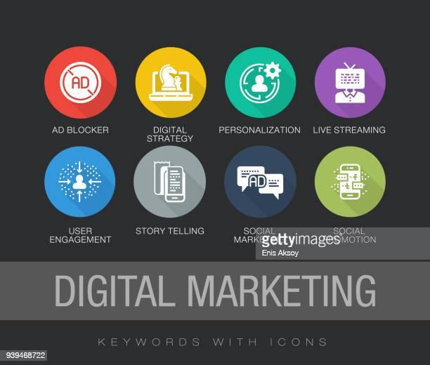 digital marketing flat icon set - customised stock illustrations