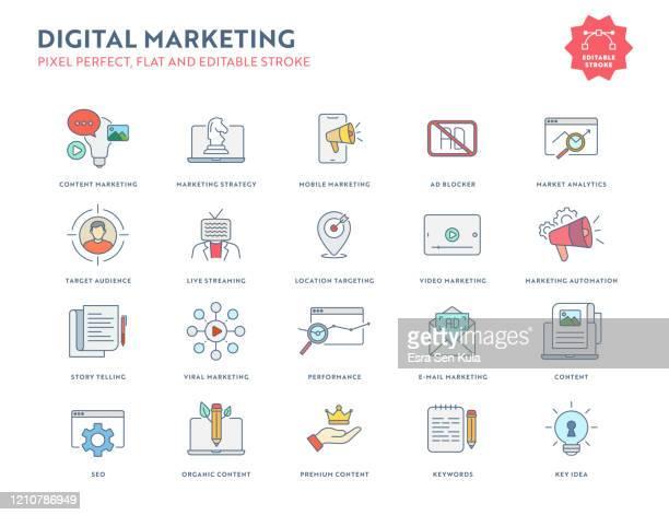 digital marketing flat icon set mit editierbarem strich und pixel perfekt. - werbung stock-grafiken, -clipart, -cartoons und -symbole