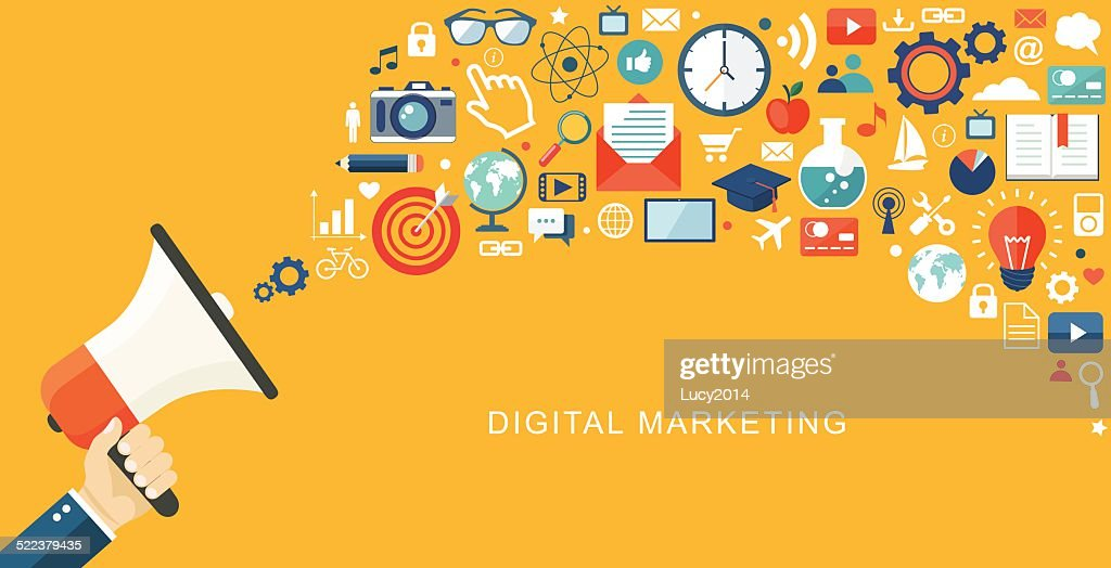 Digital marketing flat illustration. Hand with speaker and icons