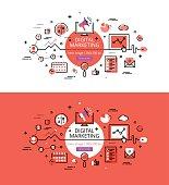 Digital Marketing. Flat line color hero images