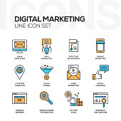 Digital Marketing Flat Line Icons Set