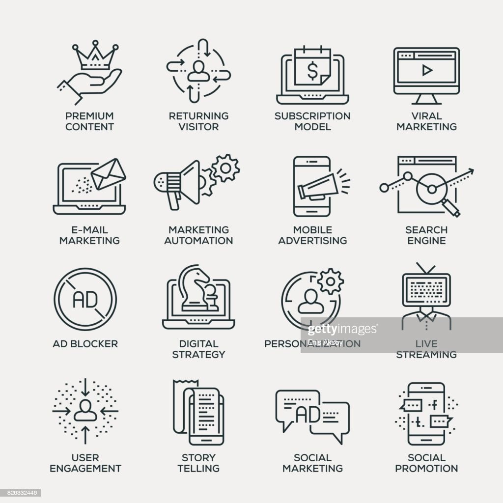 Digital Marketing Icon Set - Line Series
