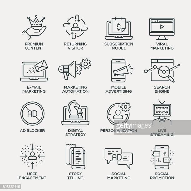 digital marketing icon set - line series - marketing stock illustrations