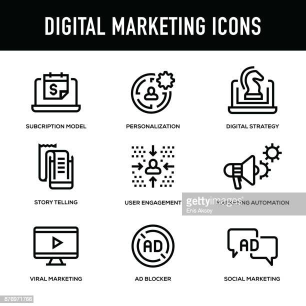 Digital Marketing Icon Set - Thick Line Series