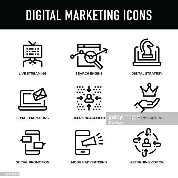 digital marketing icon set - thick line series - thick stock illustrations
