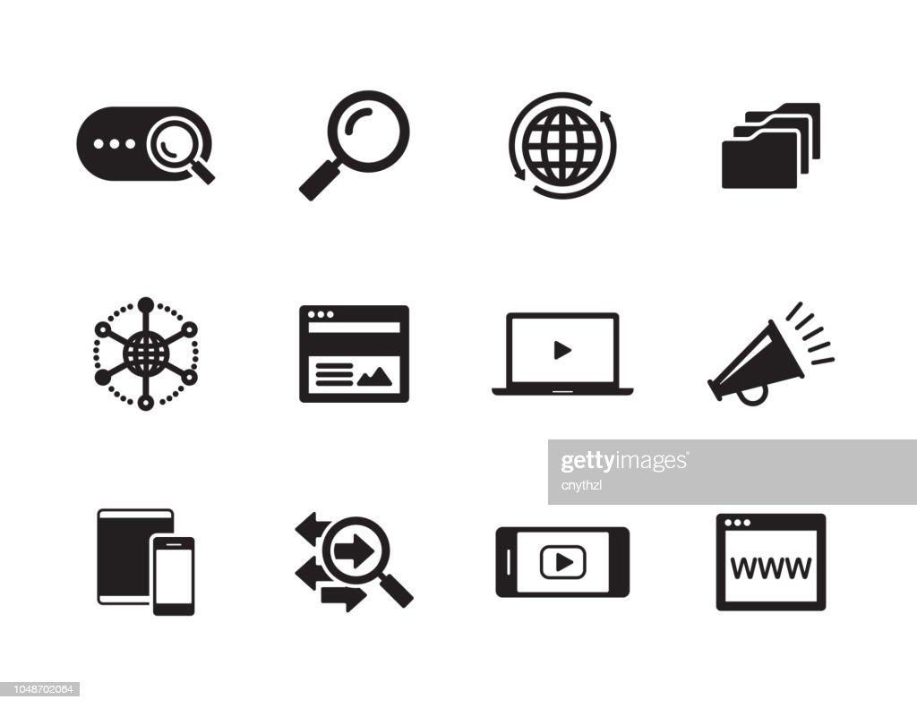 Conjunto de iconos de Marketing digital : Ilustración de stock