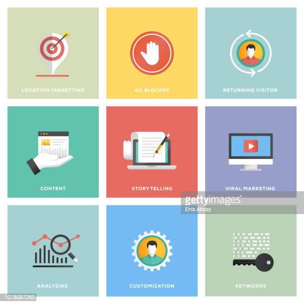 illustrazioni stock, clip art, cartoni animati e icone di tendenza di digital marketing icon set - flat design